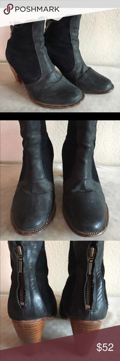 """J Shoe black booties with stacked heel and zipper Bad ass booties in suede and leather. Heel is 3.5"""" high. J Shoe Shoes Ankle Boots & Booties"""