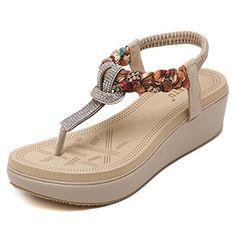 951f326de Womens Wedge sandals Thong Platform Beaded Slingback Bohemia Summer Sandal  Heel measures approximately 1.96