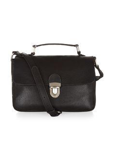 Leather Pushlock Across Body Bag | Black | Accessorize