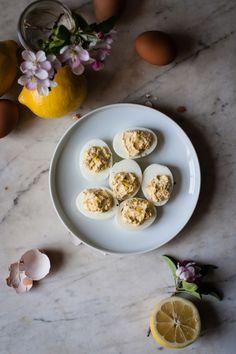 Crème Fraîche + Lemon Deviled Eggs | for the love of the south
