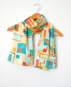 Hand painted silk scarf Handpainted silk shawl Silk by Allatai