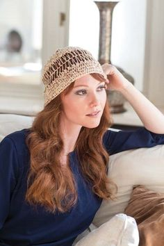 This crochet beanie is perfect for warm weather. Hairpin Crochet Hat