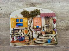 Seramik Evler / I      Her biri el yapımı farklı detaylarla süslenmiş, seramik duvar panoları Polymer Clay Projects, Clay Crafts, Diy And Crafts, Arts And Crafts, Clay Houses, Ceramic Houses, Paper Clay, Clay Art, Biscuit