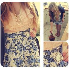 Ruffled Top. Blue & White Skirt. Pearls.