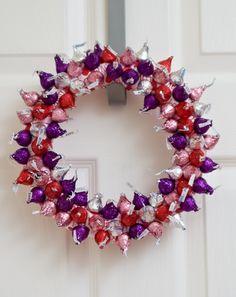 "A Valentine's Day wreath made of ""kisses."""