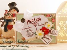 Inspired by Stamping, Joanna Munster, Vintage Postcards stamp set, Vintage Postcards Add On I stamp set, Christmas card