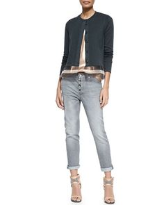-5HUT Brunello Cucinelli Jersey Striped Gauze-Inset Cardigan, Lamé Scoop-Neck Tank & Button-Fly Jeans w/ Rolled Cuffs