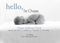 Hello-A Simple and Stylish Custom Photo Birth Announcement for Baby Boy or Girl, 5x7, personalized and printable