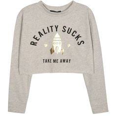 Kiss & Tell Sweatshirt With Reality Sucks Print (150 DKK) ❤ liked on Polyvore featuring tops, hoodies, sweatshirts, sweatshirt, crop top, sweaters, white crop tops, print crop tops, print sweatshirt and mixed print top