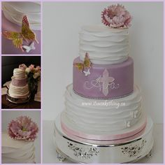 Ruffles Communion Cake - My Goddaughter Ava, who happens to also be my neice received her First Holy Communion this past weekend. She is as girly girl as they come and wanted a special cake for her special day. She searched online with the help of her mom and came up with a few designs..she really liked one cake by Pink Cake Box that had the cross painted in the background and the name piped on top. (so that?s where that inspiration came from). But I knew her theme was dainty, lavenders…