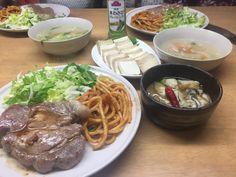 kuni's食堂 トンテキセット、豆腐の味噌漬け、牡蠣のガーリックオイル焼き、ベーコンと水菜のスープ