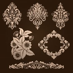 Vector set of damask ornamental elements. Elegant floral abstract elements for design. Perfect for invitations, cards etc. Wall Paint Patterns, Stencil Patterns, Stencil Designs, Painting Patterns, Fabric Painting, Bead Embroidery Patterns, Beaded Embroidery, Embroidery Designs, Crown Tattoo Design
