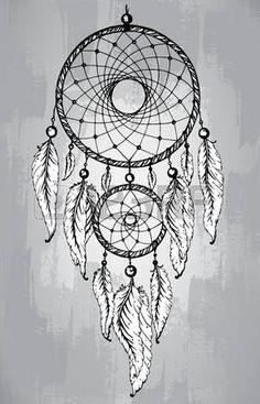 Colector ideal con plumas, en línea estilo del arte. Dibujado a mano ilustración vectorial boceto para tatuajes o camiseta de la impresión. foto