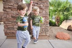 Twin boys summer style with Lot801 monochrome joggers