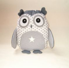 Star Owl, Owl Bedroom Decor, Organic Owl TOY Stuffed Animal  Softie  Unisex Grey White Silver / Al Heart Owl Pillow - HET -