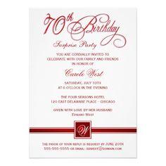 Elegant 70th birthday party invitations 70 birthday parties 70 70th birthday surprise party invitations red filmwisefo