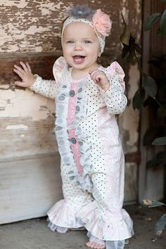 Giggle Moon Graced Longall is absolutely lovely for this Fall! Baby Girl Romper, Baby Dress, Faith Rose, Baby Girl Boutique, Designer Baby Clothes, Baby Couture, Girl Closet, Girls Rompers, Cute Little Girls