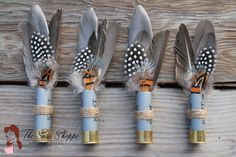 Set of 4 - Feather and Twine Shotgun Shell Boutonniere