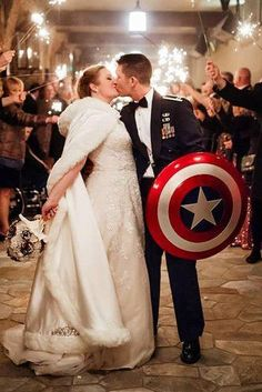 The Most Trendy Wedding Themes In 2019 For Each Taste ★ wedding themes marvel wedding wedding theme 63 Top Wedding Themes In 2020 For Every Bridal Style Marvel Wedding Theme, Avengers Wedding, Comic Book Wedding, Wedding Movies, Geek Wedding, Wedding Pics, Dream Wedding, Wedding Dresses, Movie Wedding Themes