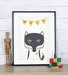 Scandinavian Nursery decor, wolf, woodland animals for kids, retro art print, A3 *** You can get more details by clicking on the image.