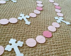 Christening Cross and DOVE Garland - Baptism decorations - First Communion Garland - RELIGIOUS Baby Dedication Decor - Your Color choice First Communion Decorations, First Communion Favors, Baptism Decorations, First Holy Communion, Backdrop Decorations, Baptism Banner, Baptism Party, Cricut Banner, Baby Shower Garland