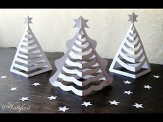Here are some delicate 3D Paper Christmas Trees for you to create! Find templates on Hattifant's website at .... Paper, Hat, Christmas, Tree, Christmas,