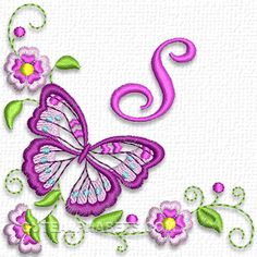 Graceful butterfly font - Cute Alphabets - Embroidery Fonts