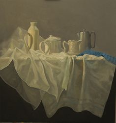 Petra Reece Still Life with Pots and Jugs - 2014 Oil on linen 93 x 93 cm New Words, Petra, Paper Shopping Bag, Still Life, Oil On Canvas, It Works, Artist, Painting, Painting Art