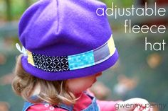 Gwenny_Penny_Adjustable_Fleece_Hat_Tutorial_SQ and much more! Fleece Hat Pattern, Fleece Patterns, Hat Patterns To Sew, Dress Patterns, Fleece Crafts, Fleece Projects, Sewing For Kids, Baby Sewing, Hat Tutorial