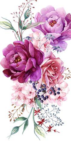 # Case # Cases # Art # Design # Pattern - Flower Tattoo Designs - Tattoo World Art Floral, Pastell Tattoo, Watercolor Flowers, Watercolor Paintings, Watercolor Flower Tattoos, Watercolors, Geometric Tatto, Upper Arm Tattoos, Purple Peonies