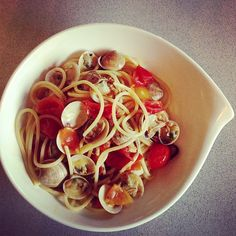 Spaghetti with clams. #healthyfood #lunch - @melissazino- #webstagram