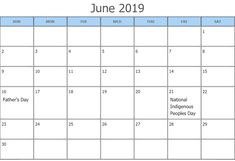 June 2019 Calendar Canada With Holidays Canada Calendar, June 2019 Calendar, Federal Holiday Calendar, June Solstice, Discovery Day, Indigenous Peoples Day, Canada Holiday, Printable Calendar Template, Important Dates
