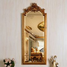Exquisite, gorgeous antique gold mirror with luxury frame and crown top. Long accent mirror can be mounted or leaned against a wall. Perfect for your living room, dining room, or bedroom. | Rosdorf Park Rosia Glam Venetian Accent Mirror, Size 41.93 H x 17.13 W x 1.97 D in | Wayfair | Home Decor Vintage Room, Bedroom Vintage, Vintage Home Decor, Victorian Bedroom, Victorian Mirror, Royal Room, Gold Rooms, Aesthetic Room Decor, Room Decor Bedroom