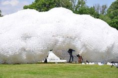 'head in the clouds', a pavilion designed for figment's 2013 'city of dreams art celebration' on new york's governors island by jason klimoski, AIA, and lesley chang of architecture studioKCA has been built using 53,780 recycled plastic bottles and milk jugs – the amount which is thrown away in NYC in about 1 hour.  head in the clouds: a plastic bottle pavilion by studioKCA - designboom | architecture