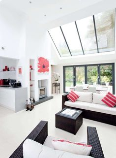 Replacing a conservatory with a kitchen extension is a great idea, more usable and with great roof windows you still get the light and bright feel of a conservatory. Extension Veranda, Living Area, Living Spaces, House Extensions, Kitchen Extensions, Open Plan Kitchen, Open Plan Living, Living Room Kitchen, My Dream Home