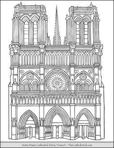Notre Dame Cathedral Coloring Page – Paris, France Gothic Architecture Drawing, Architecture Drawing Sketchbooks, Cathedral Architecture, Concept Architecture, Classical Architecture, Colouring Pages, Coloring Books, Paris Drawing, Arte Grunge