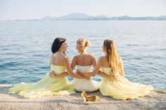 Corfu villa wedding #corfu #wedding #elopement #symbolic #ceremony #greece #island #destination #yellow #bridal #bouquet #greece #destination #sea #villa #bride #groom #bridesmaids #dress