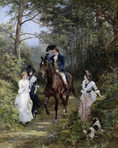 The Meeting in the Forest (also called Good Morning, Ladies) by Heywood Hardy (1843-1933). Victorian Paintings, Victorian Art, Victorian Ladies, Romantic Paintings, Beautiful Paintings, Art Ancien, Wall Art Prints, Poster Prints, Painting People