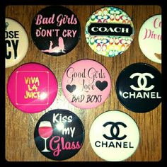 Coach, Juicy and more Pinbacks 1 inch round pinback buttons. What show did pictures what  you will receive. Juicy , Coach and more. Fun for painting on tshirts nine yards or even backpack. I have other images please feel free to contact me thank you. Coach Accessories