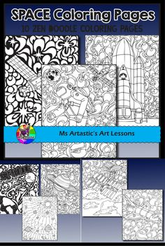 The Final Frontier. The Truth is Out There. space, zen tangle coloring pages to allow for educational, mindful coloring in your classroom. All coloring pages are hand drawn by Ms Artastic with love and care. Back To School Art, High School Art, Art Classroom, School Classroom, Classroom Ideas, School Art Projects, Projects For Kids, Elementary Art, Elementary Teacher