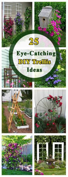 Container Gardening Ideas 25 Eye-Catching DIY Trellis Ideas For Your Garden – The ART in LIFE - A garden trellis is an excellent way to support plants and flowers while adding structure and decorative flair to your landscape. Garden Types, Diy Trellis, Garden Trellis, Trellis Ideas, Lattice Ideas, Clematis Trellis, Arbors Trellis, Garden Fencing, Diy Garden Projects