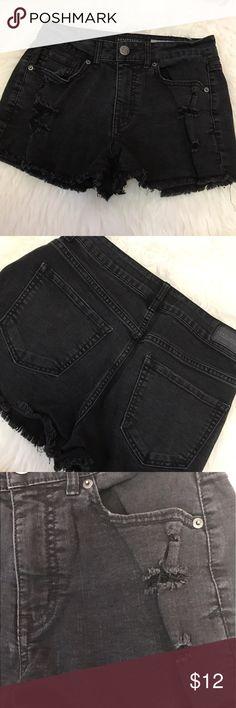 Aeropostale high waisted black denim shorts Distressed black denim high rise - waisted shorts - worn - sold as is Aeropostale Shorts