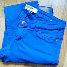 Royal blue stretchy jeans Royal blue regular rise skinny jeans. Worn and washed a few times. Garage Jeans Skinny