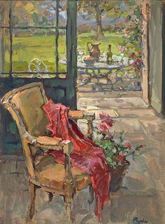 """""""Hacia la terraza, final del verano"""". Susan Ryder (1944- )."""