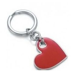 Tiffany Key Rings Heart Key Ring With Red Enamel Finish In Sterling Silver