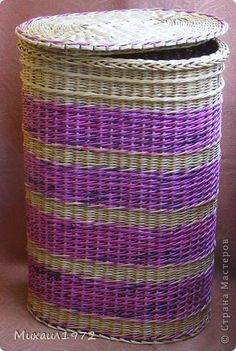 Поделка изделие Плетение Корзина для белья Трубочки бумажные фото 2