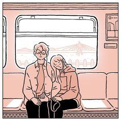 Korean Illustration, Music Illustration, Couple Illustration, Art Illustrations, Best Friend Sketches, Friends Sketch, Music Drawings, Couple Drawings, Cute Couple Art