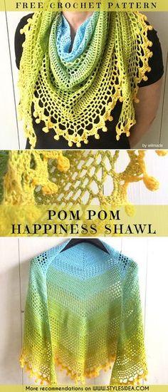 POM POM HAPPINESS SHAWL #crochetscarf #crochetfreepattern #crochetshawl