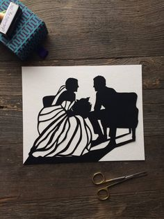 Custom Hand Cut Wedding Silhouette Art - 11 by 14 First Anniversary Paper Gift - Custom Silhouette Portrait - Anniversary paper gifts Kids Silhouette, Wedding Silhouette, Black Silhouette, Silhouette Portrait, First Anniversary Paper, Glue Crafts, Subtle Textures, Pop Up Cards, Photo Look
