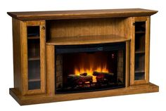 "Amish 64"" Electric Fireplace Entertainment Center Living room storage unit with built in electric fireplace. Cozy and crafted in solid wood of choice. #electricfireplace #livingroom"